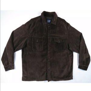Gap Mens Dark Brown Leather Suede Shirt Jacket L